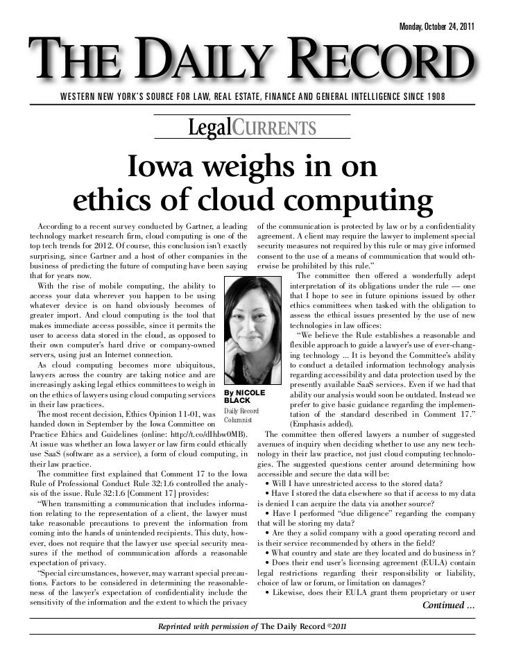 Iowa Weighs in on Ethics of Cloud Computing for Lawyers