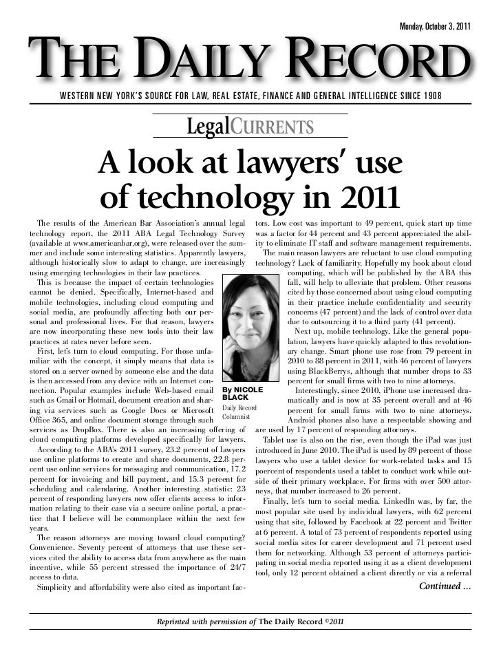 A Look at Lawyers' Use of Technology in 2011