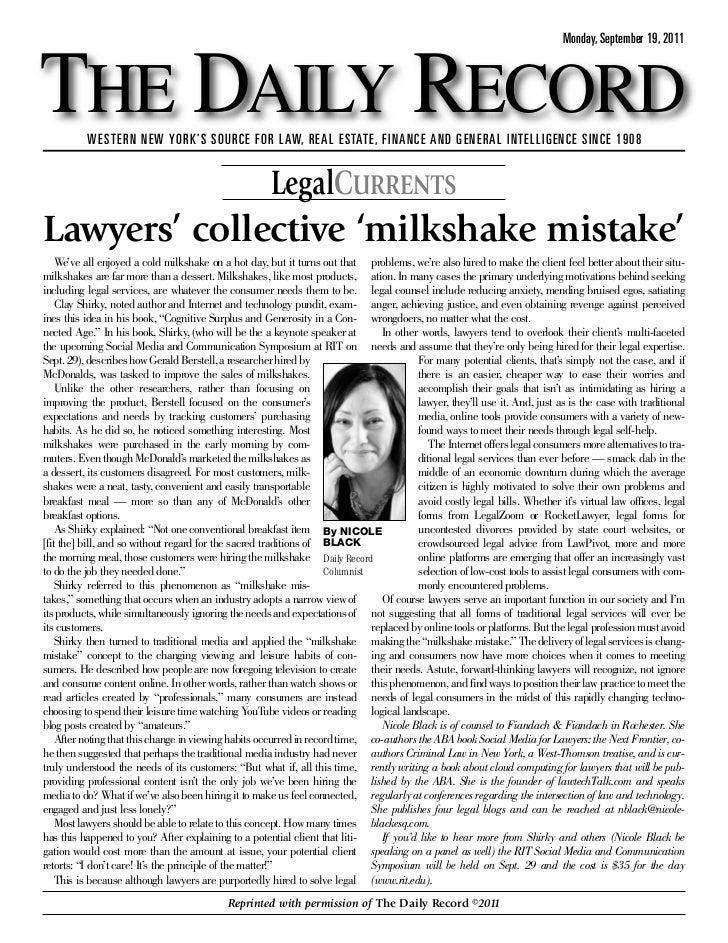 Lawyers Collective Milkshake Mistake