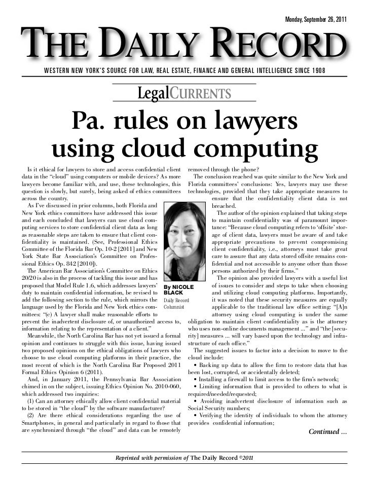 Pennsylvania Rules on Lawyers Using Cloud Computing