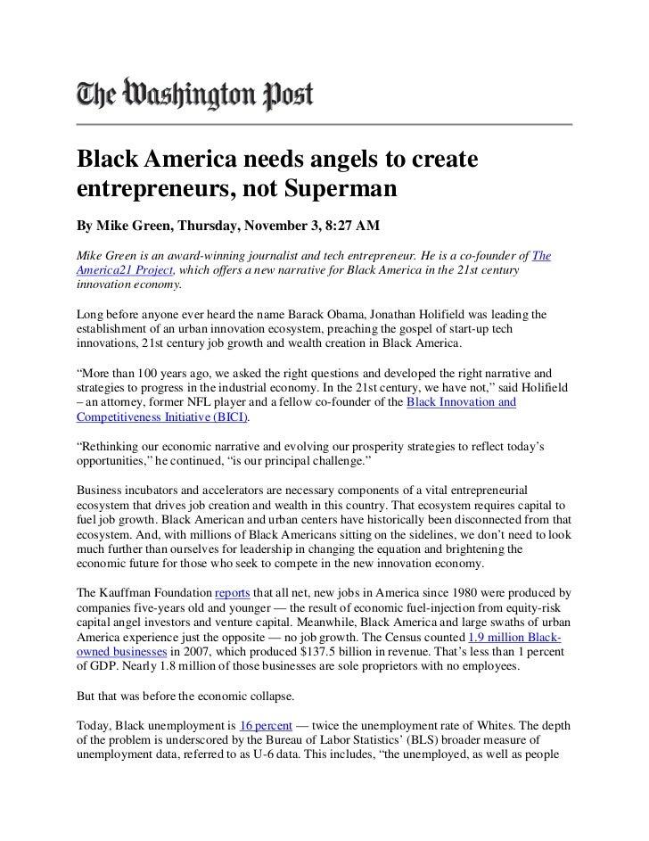 Black america needs angels to create entrepreneurs, not superman   washington post