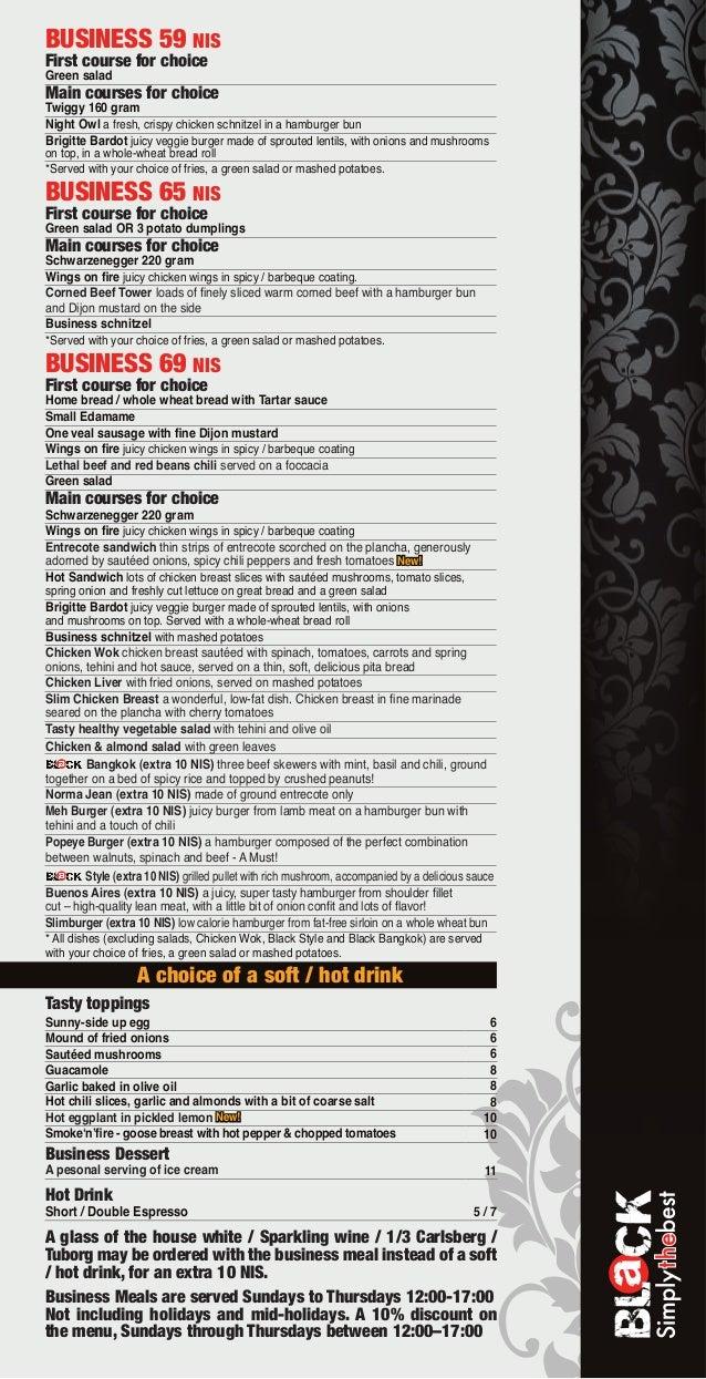 Black bar business menu english june13