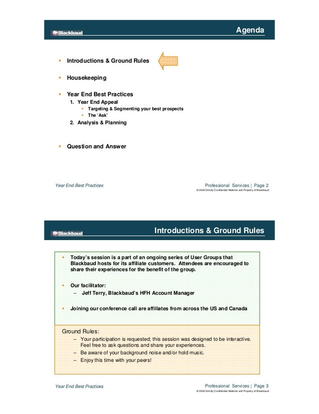 Professional Services | Page 2Year End Best Practices © 2006 Strictly Confidential Material and Property of Blackbaud Agen...
