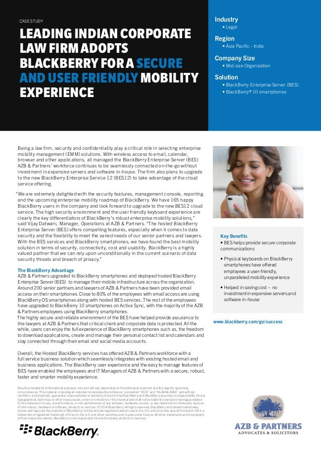 Leading Indian Corporate Law Firm Adopts BlackBerry 10 for a Secure and User Friendly Mobility Experience