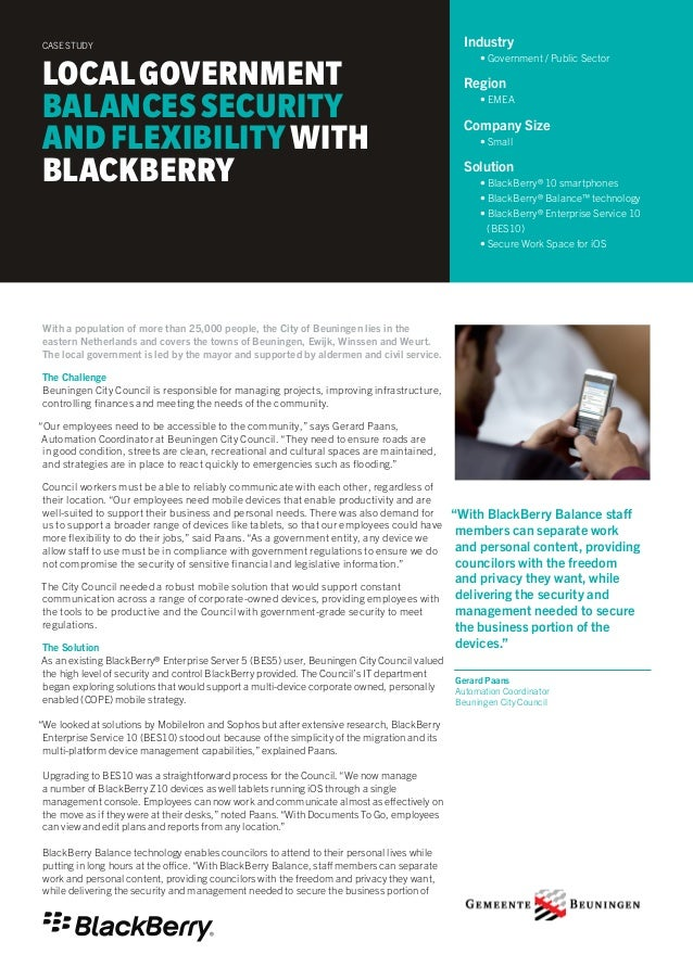 """""""With BlackBerry Balance staff  members can separate work  and personal content, providing  councilors with the freedom  a..."""