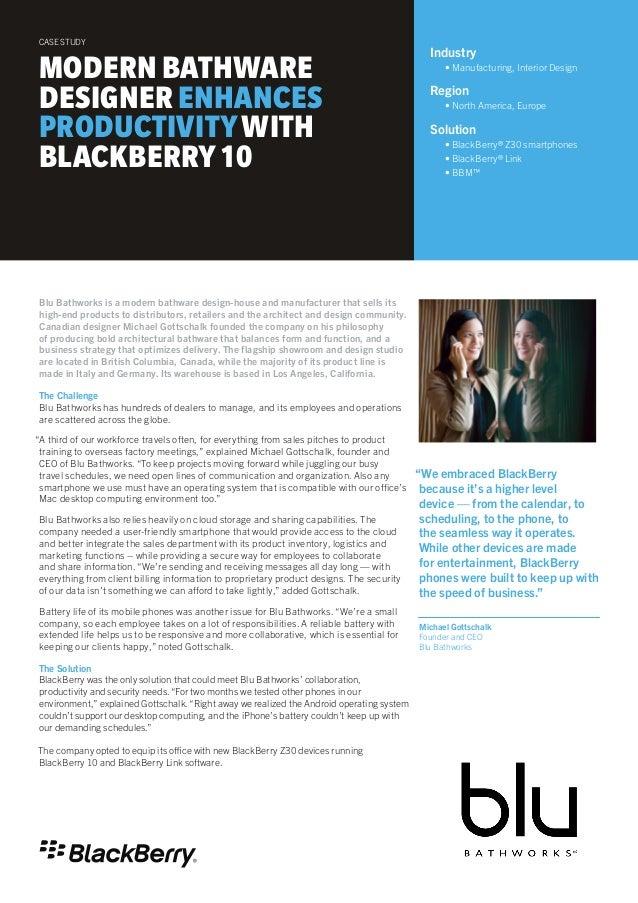 Modern Bathware Designer Enhances Productivity with BlackBerry 10