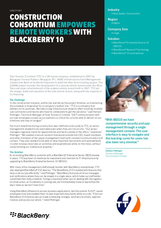 Construction Firm Empowers Remote Workers with BlackBerry 10