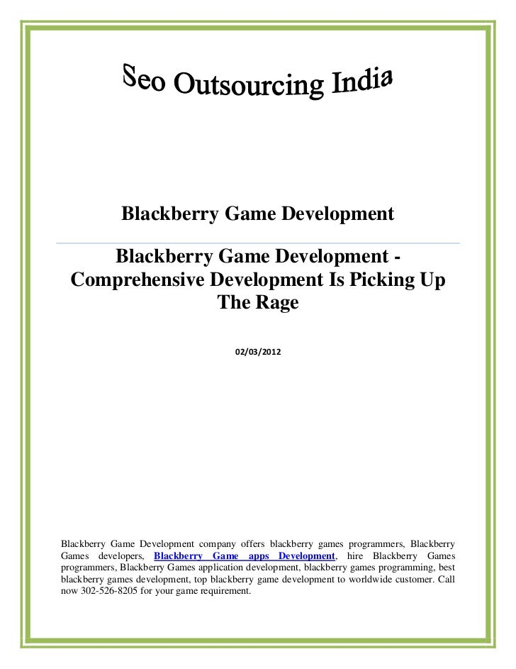Blackberry Game Development     Blackberry Game Development -  Comprehensive Development Is Picking Up                The ...