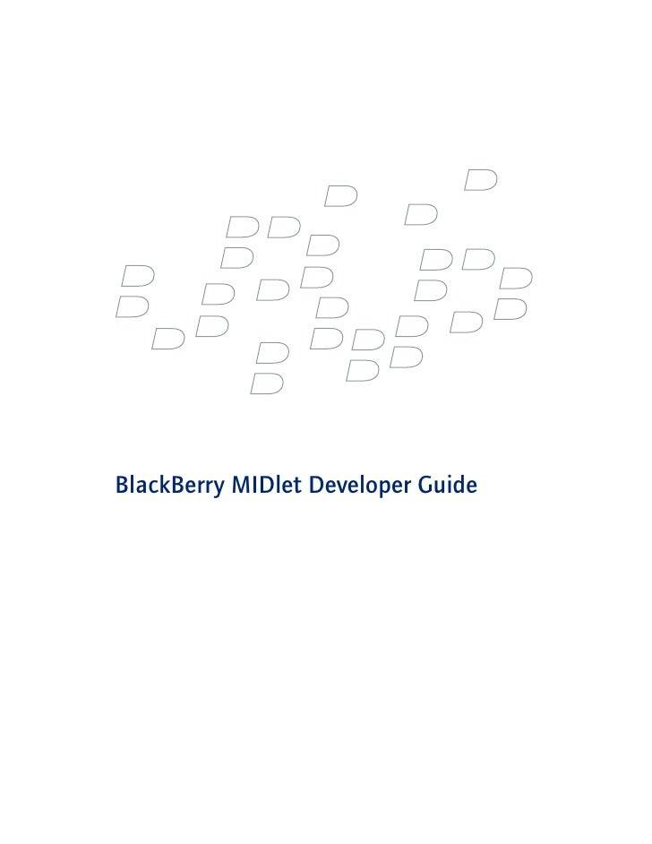 BlackBerry Midlet Developer Guide