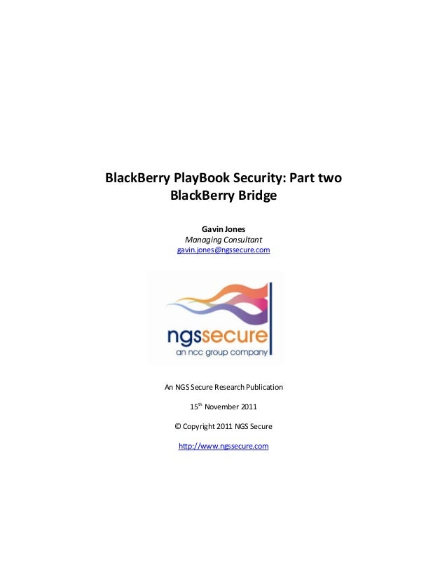 Black berry playbook security   part two - blackberry bridge
