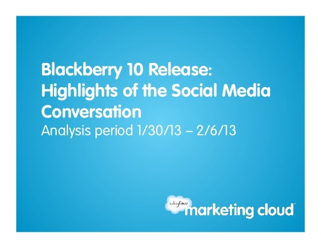 Blackberry 10 Release: Social Media Conversation  2013