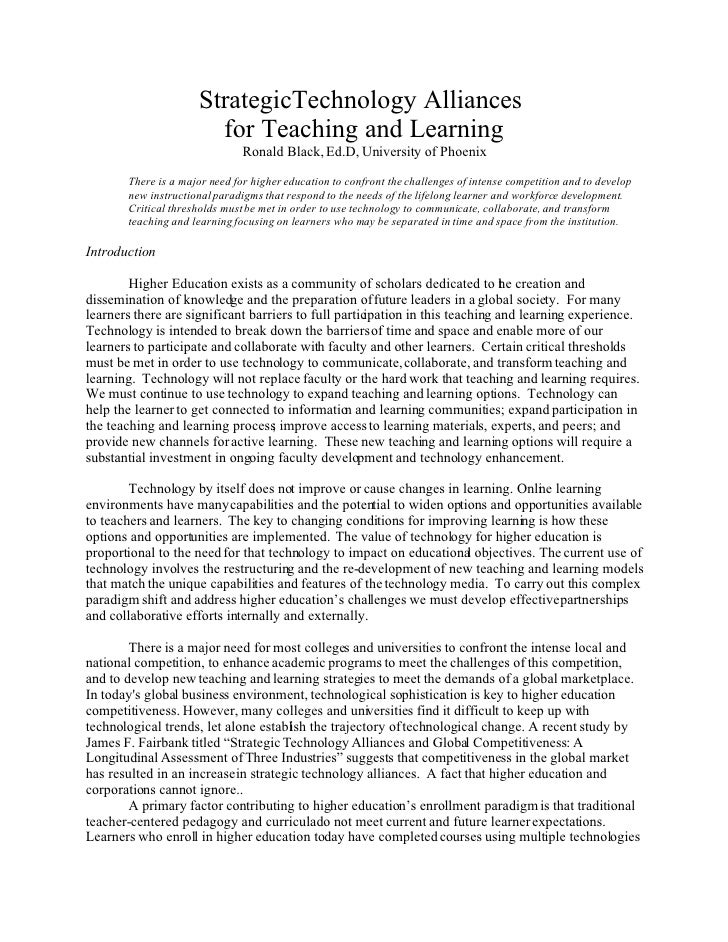 StrategicTechnology Alliances                         for Teaching and Learning                                Ronald Blac...