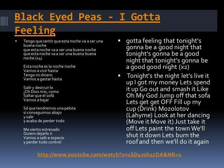 la letra de la cancion de black eyed peas: