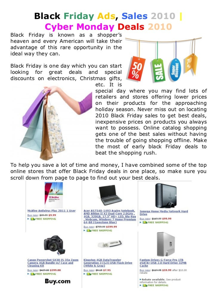 Black Friday Ads, Sales 2010 |           Cyber Monday Deals 2010 Black Friday is known as a shopper's heaven and every Ame...