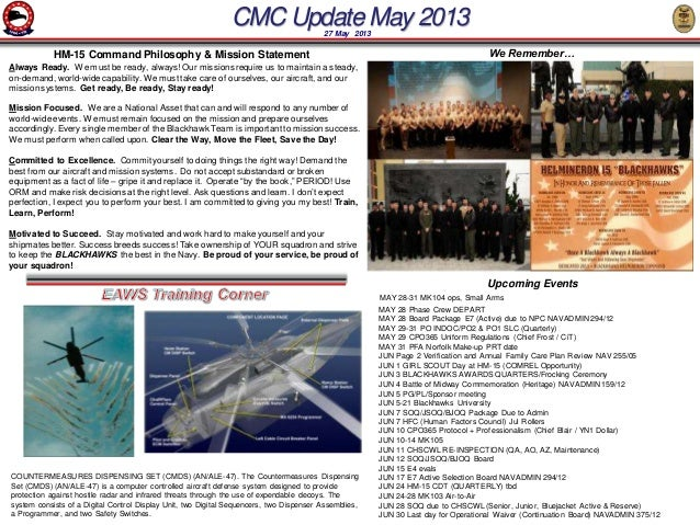 CMC Update May 201327 May 2013Always Ready. We must be ready, always! Our missions require us to maintain a steady,on-dema...