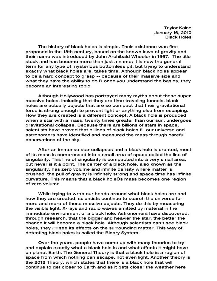 Holes reflection essay template