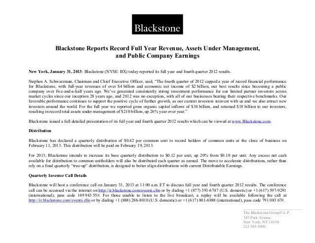 _____________________________ The Blackstone Group L.P. 345 Park Avenue New York, NY 10154 212 583-5000 Blackstone Reports...