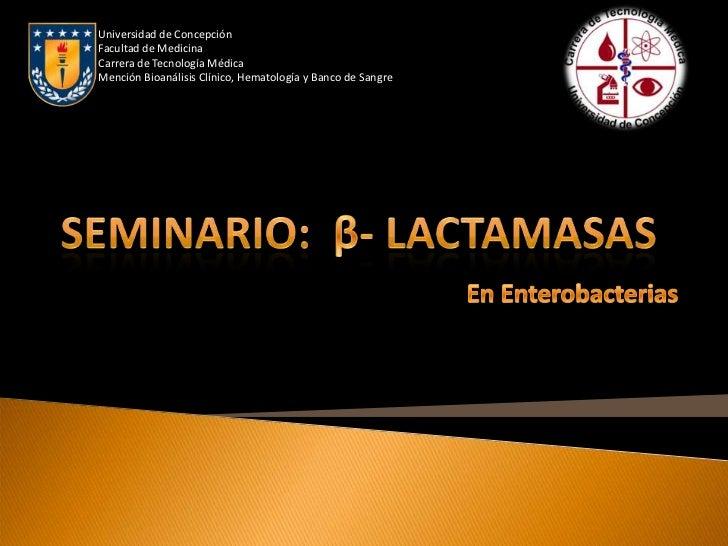 Universidad de ConcepciónFacultad de MedicinaCarrera de Tecnología MédicaMención Bioanálisis Clínico, Hematología y Banco ...