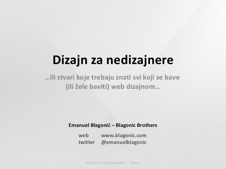 (WS11) Emanuel Blagonić: Web dizajn za nedizajnere