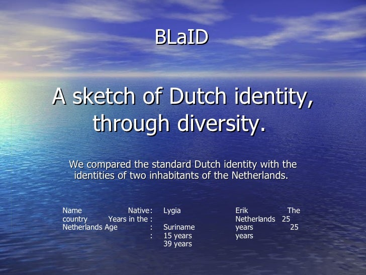 A sketch of Dutch identity, through diversity.  We compared the standard Dutch identity with the identities of two inhabit...