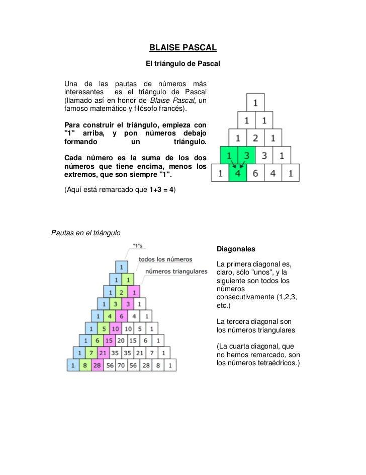 BLAISE PASCAL<br />El triángulo de Pascal<br />Una de las pautas de números más interesantes  es el triángulo de Pascal (l...