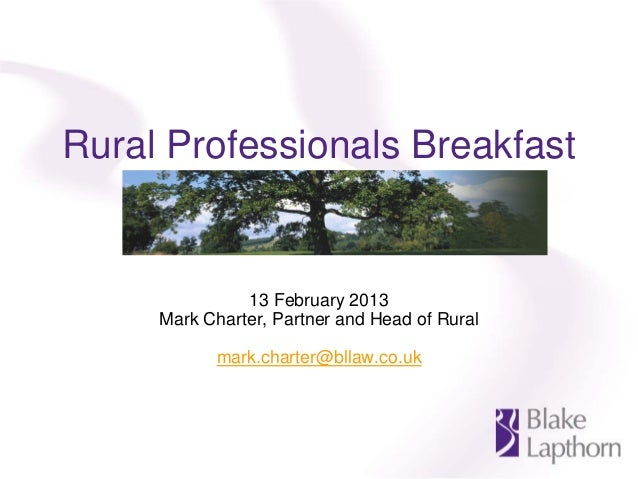 Blake Lapthorn Rural Professionals breakfast - Oxford - 13 February 2013