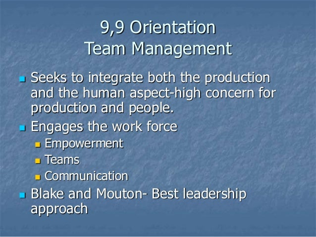 blake mouton managerial grid team leadership Learn how to use the managerial grid by blake and mouton to apply leadership styles, stimulate the group connection and motivate employees read more.
