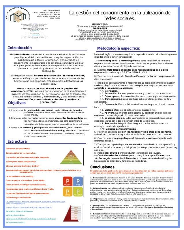 La gestión del conocimiento en la utilización de redes sociales.