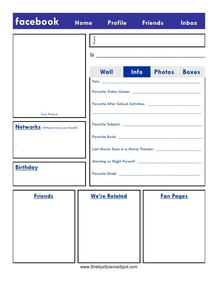 Pics Photos   Blank Facebook Profile Template Worksheet yffTZOIE