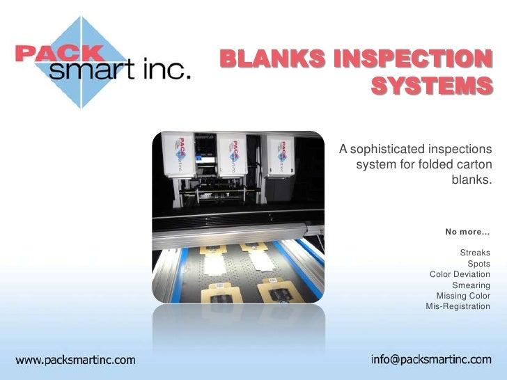 Pack-Smart Inc. Blanks Inspection System