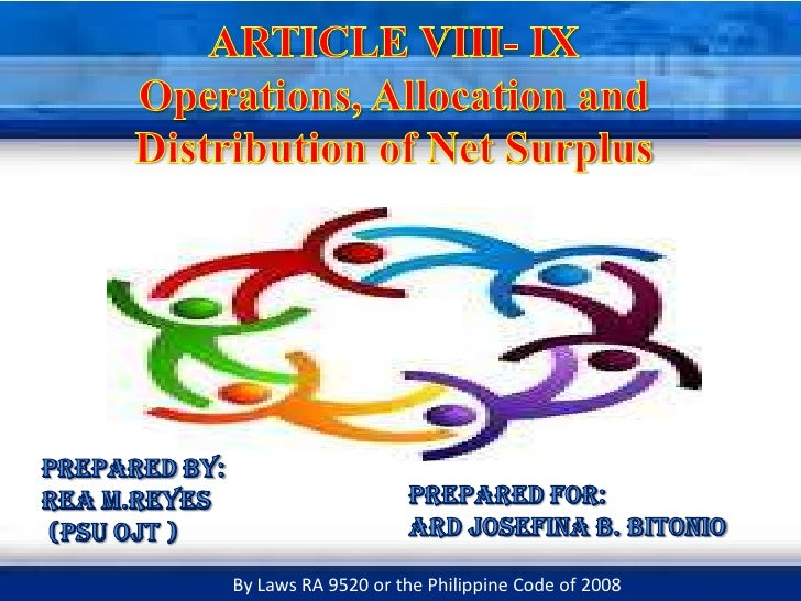 ARTICLE VIII- IXOperations, Allocation and Distribution of Net Surplus<br />Prepared by: <br />REA M.REYES <br /> (PSU OJT...