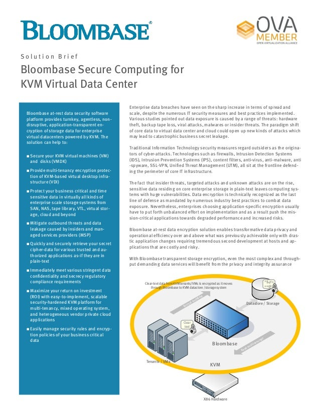 Bloombase Secure Computing for KVM Virtual Data Center