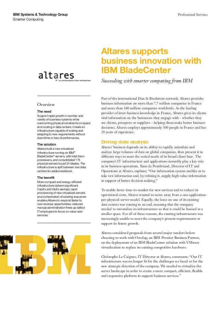 Altares supports  business innovation with  IBM BladeCenter
