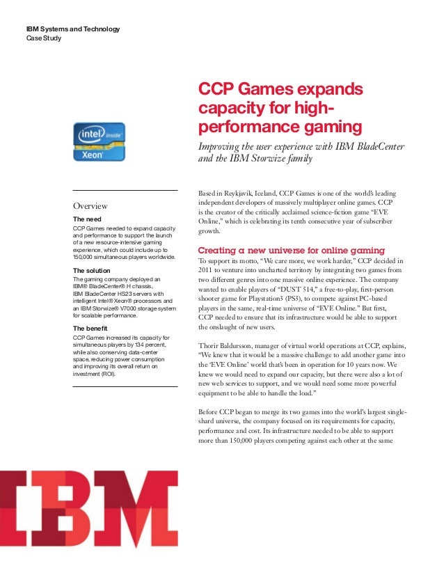 CCP Games expands capacity for high- performance gaming