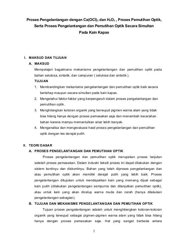 Proses Pengelantangan dengan Ca(OCl) 2 dan H2O2 , Proses Pemutihan Optik, Serta Proses Pengelantangan dan Pemutihan Optik ...