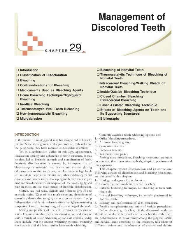 29  Introduction  Classification of Discoloration  Bleaching  Contraindications for Bleaching  Medicaments Used as Bl...