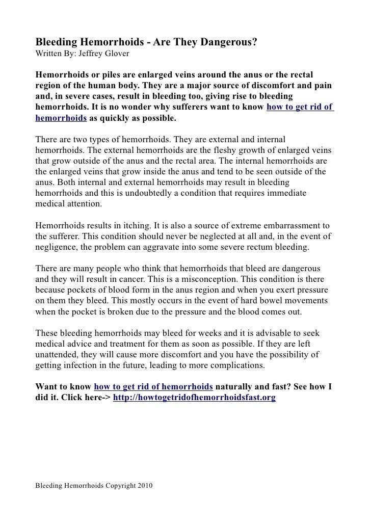 Bleeding Hemorrhoids - Are They Dangerous?
