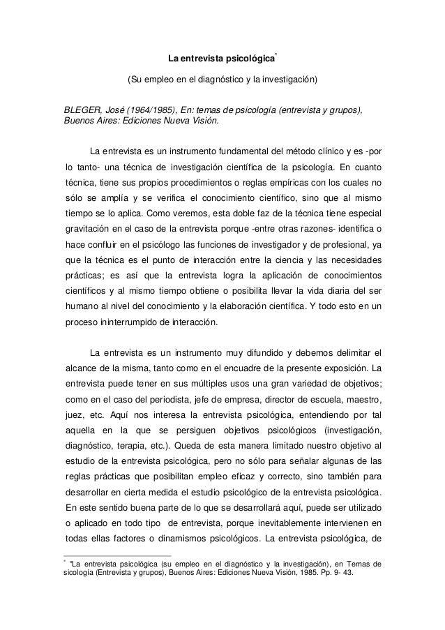 La entrevista psicológica* (Su empleo en el diagnóstico y la investigación) BLEGER, José (1964/1985), En: temas de psicolo...
