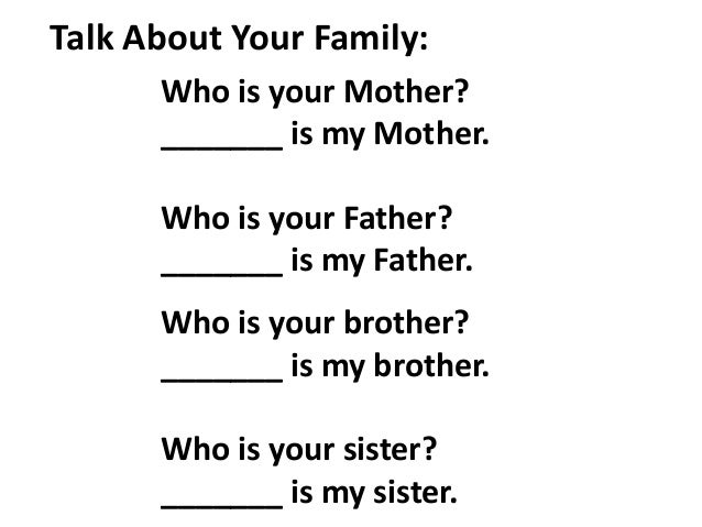 A Sample English Lesson for Talking About Family
