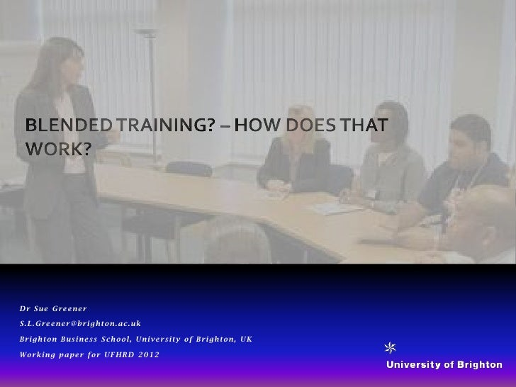 Blended training how does that work ufhrd 2012 greener