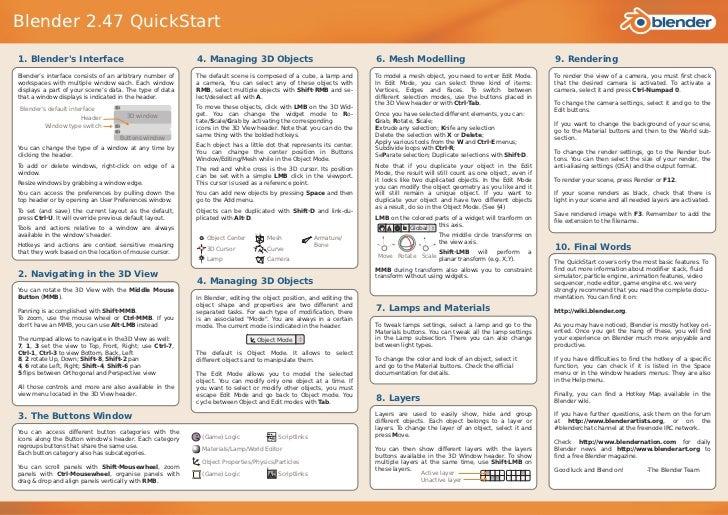 Blender 2.47 QuickStart1. Blenders Interface                                    4. Managing 3D Objects                    ...