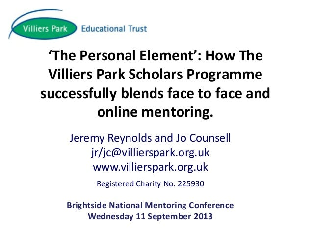 Blending Face to Face and Online Mentoring - Villier's Park Educational Trust