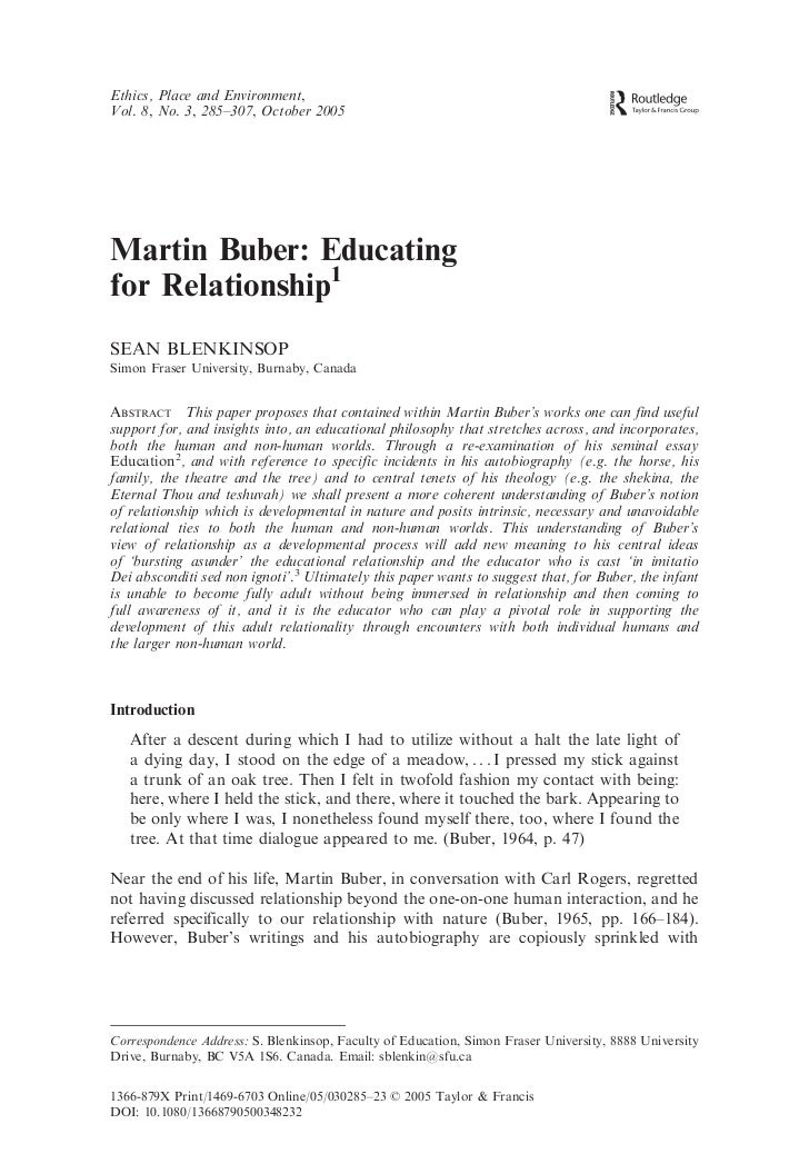 Ethics, Place and Environment,Vol. 8, No. 3, 285–307, October 2005Martin Buber: Educatingfor Relationship1SEAN BLENKINSOPS...
