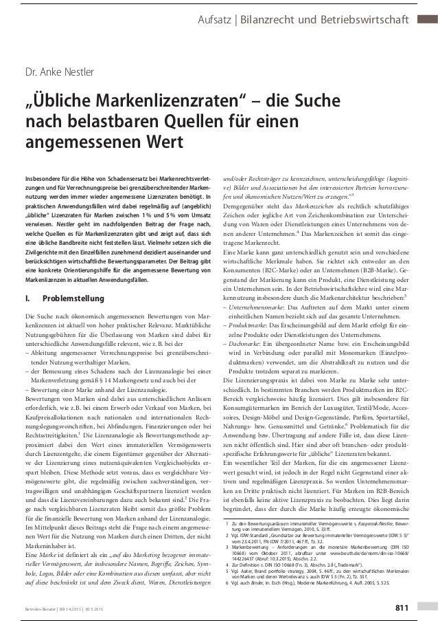 """Dr. Anke Nestler """"Übliche Markenlizenzraten"""" – die Suche nach belastbaren Quellen für einen angemessenen Wert Insbesondere..."""