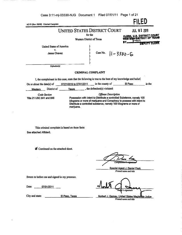 Case 3:11-mj-03330-NJG Document 1                            Filed 07/01/11 Page 1 of 21AO 91 (Rev. 08/09) Criminal Compta...