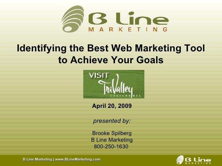 <ul><li>April 20, 2009 </li></ul><ul><li>presented by: </li></ul><ul><li>Brooke Spilberg </li></ul><ul><li>B Line Marketin...