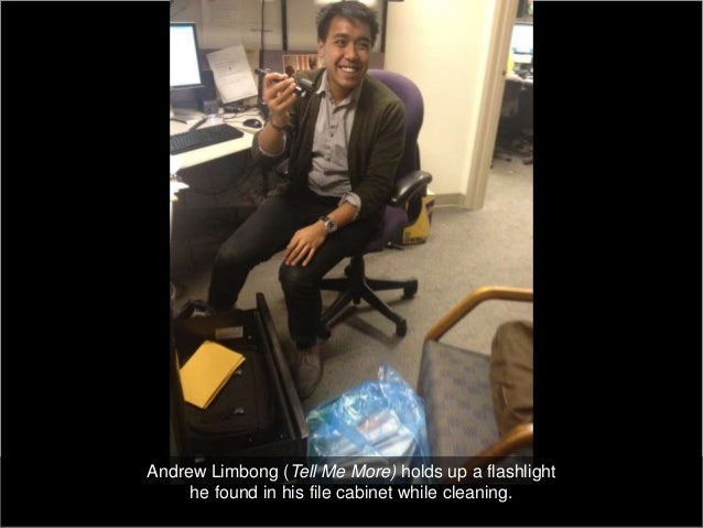 Andrew Limbong (Tell Me More) holds up a flashlight     he found in his file cabinet while cleaning.