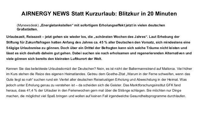 """(Mynewsdesk) """"Energietankstellen"""" mit sofortigem Erholungseffekt jetzt in vielen deutschen Großstädten. AIRNERGY NEWS Stat..."""