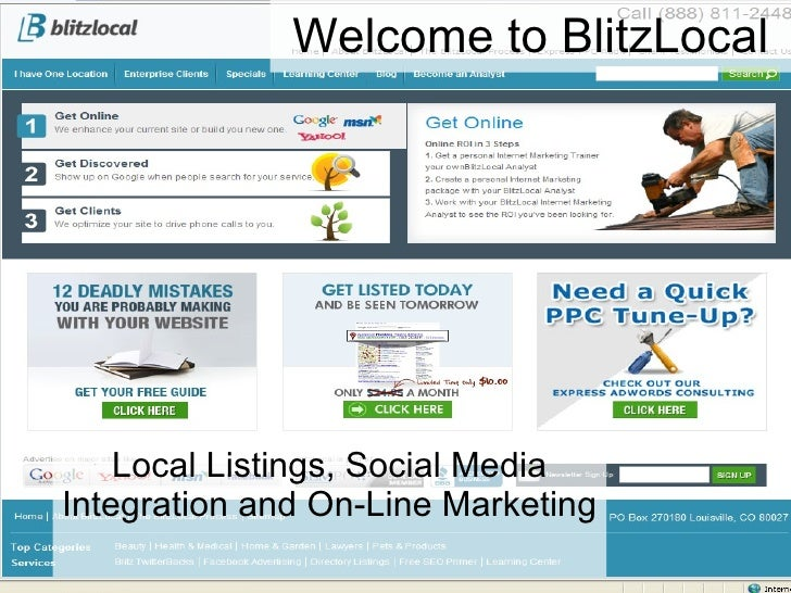 Welcome to BlitzLocal Local Listings, Social Media Integration and On-Line Marketing