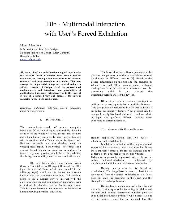 Blo - Multimodal Interaction                        with User's Forced Exhalation Manoj Manduva Information and Interface ...